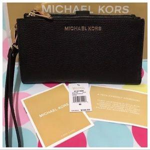 NWT MK Double Zip Wristlet Wallet- Black
